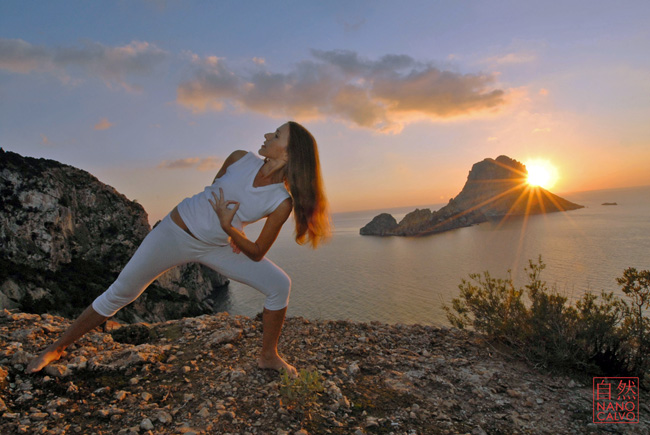 Yoga in Ibiza with Lena Tancredi and Es Vedra at sunset