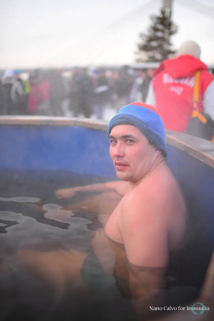 Swimmers recover in warm pool during Winter Swimming World Championships 2014 in Rovaniemi, Finland