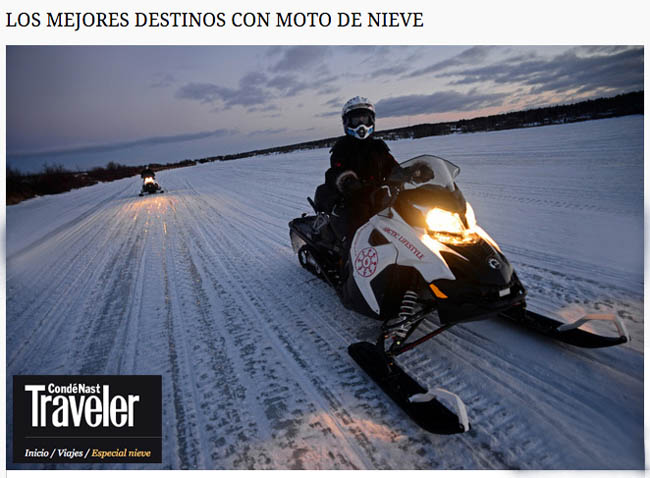 Top Destinations for Snowmobiles Condé Nast Traveler Spain Image from Rovaniemi, Finland
